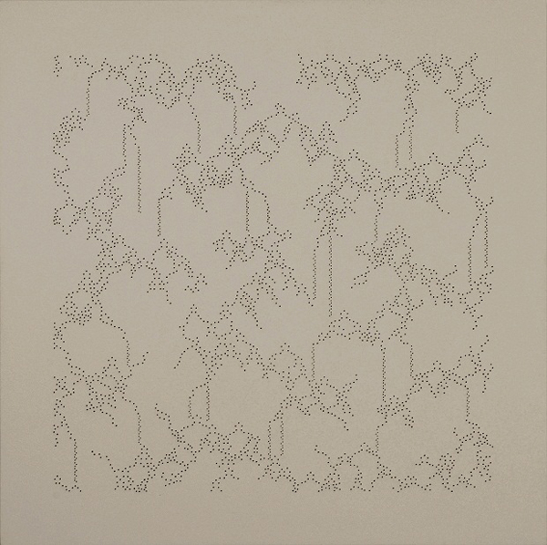 "Taney Roniger, Bifurcations Series (Square #1), 2012; punctures on wood panel, 40""X40"" © Taney Roniger"