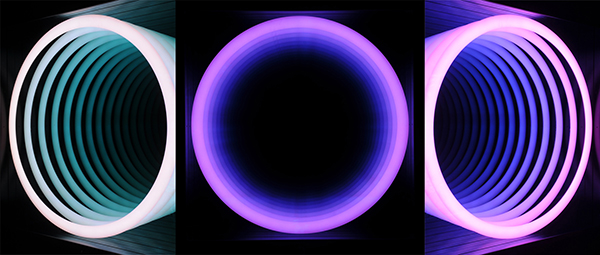 Chul-Hyun Ahn, Portal, 2013. Plywood, mirror, fluorescent lights, color gels. Size: 156x156x15 cm. Courtesy of Galerie Paris-Beijing. All rights reserved.
