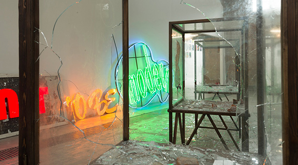 Kader Attia: We Want to Be Modern, 2014, neon lights, various materials, site specific dimensions. Photograph by Oak Taylor-Smith, courtesy of the artist and Galleria Continua, San Gimignano / Beijing / Les Moulins. All rights reserved.