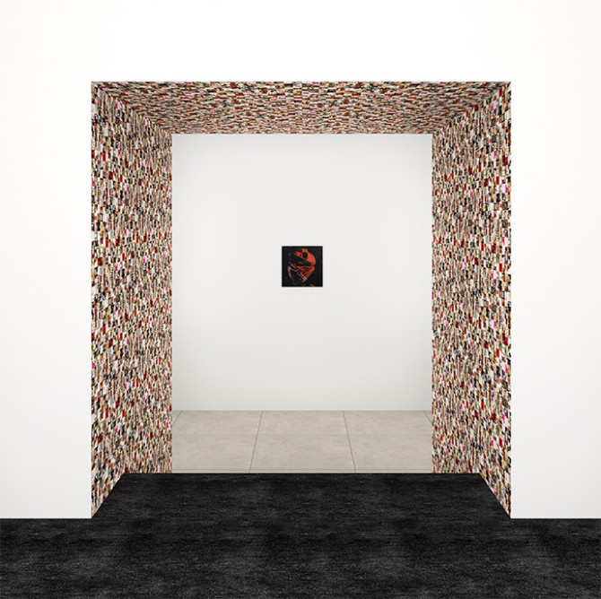 Guy Limone - Red, Black and Grey-White Tapestry, 2014, and Andy Warhol - Human Heart, circa 1979. Rendering courtesy of Peter Marino Architect, PLLC. Used here by kind permission. All rights reserved.