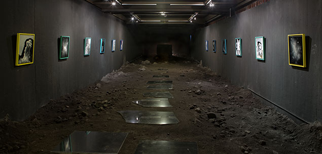The poetics of the natural clarifies the position of the invention of the gendered body. Installation with paintings, volcanic sand, rocks and marble tiles. Image © Javier Barrios. Used here by kind permission from the artist. All rights reserved.