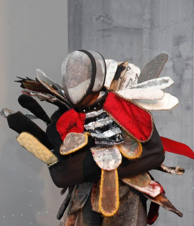 Jefferson Pinder, Magical Negro (Egungun), 2013, performance costume: straight jacket, fabric, sequins,  40