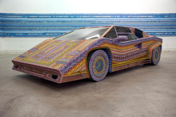 Dream ride, 2010, 110 x 220 x 414 cm, Wood, Plexiglas and discarded lottery tickets with UV coat