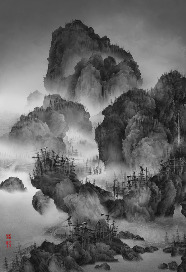 Yang Yongliang, Artificial Wonderland No. 02, 2010. Size A: 160 x 190 cm, Edition: 5. Size B: 102 x 70 cm, Edition: 8. Image courtesy of Galerie Paris-Beijing. All rights reserved.