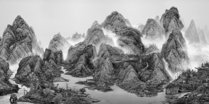 Yang Yongliang, From the New World, 2014. Photography. Size A: 400 x 800 cm, Unique edition. Size B: 300 x 600 cm, Edition: 3. Size C: 200 x 400 cm, Edition: 4. Image courtesy of Galerie Paris-Beijing. All rights reserved.