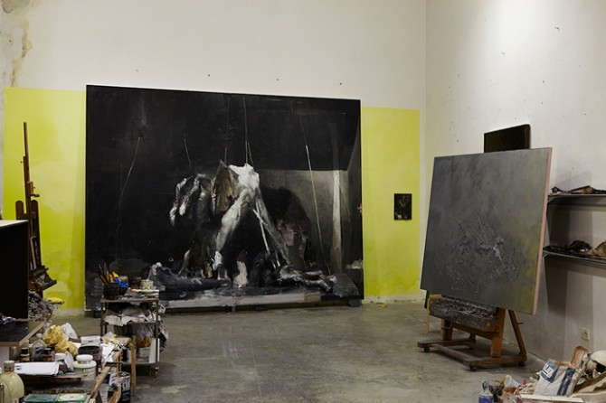 Nicola Samori, l'Age Mur, studio view, 2014. Image courtesy of rosenfeld porcini. Used here by kind permission from the gallery. All rights reserved.