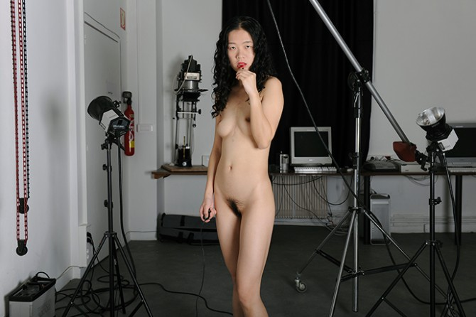 Wenjue ZHANG, Self-portrait I: Lipstick, Model in photo studio, 150 cm × 100 cm, Digital printing, 2011, France. Image © Wenjue ZHANG. Used here by kind permission from the artist. All rights reserved.