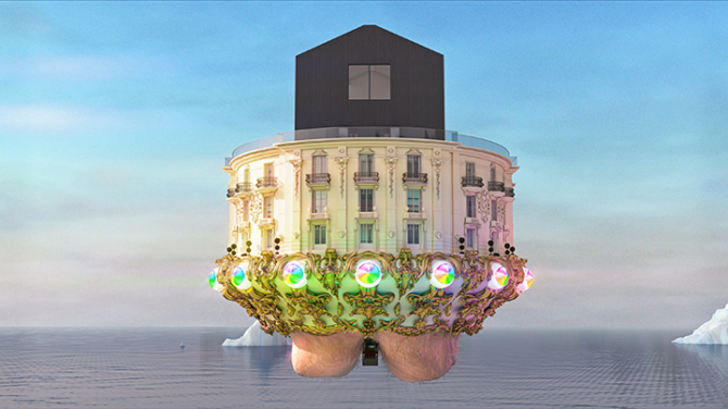 Jonathan Monaghan, Escape Pod, 2015. Animated HD film, 20 minutes, seamless loop, dimensions variable. Edition of 3. Used here courtesy of bitforms gallery, NY. All rights reserved.