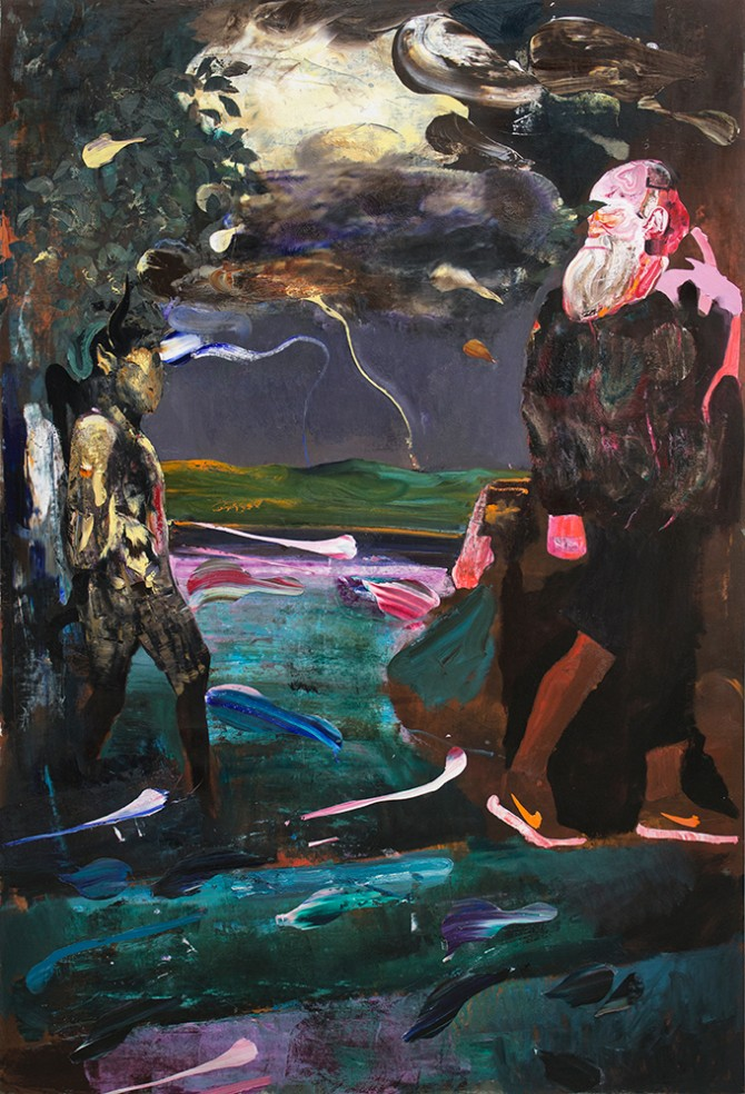 Adrian Ghenie, Darwin and the Satyr, 2014. Oil on canvas, 220 × 148 cm. Private Collection United States. Courtesy of PACE London.