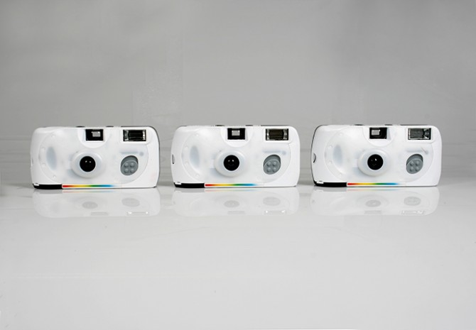 Michele Bressan, Single Use, 2011, three single use cameras, 24 exposures each, used by the artist in 2010, and undeveloped. Photo: Michele Bressan. Courtesy: the artist