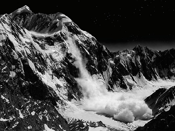 Arno Roncada, Avalanche at Night (proposal for a picture). From the series Peaceful Mountains of Desire © Arno Roncada, 2009. Used here by kind permission from FoMu. All rights reserved.