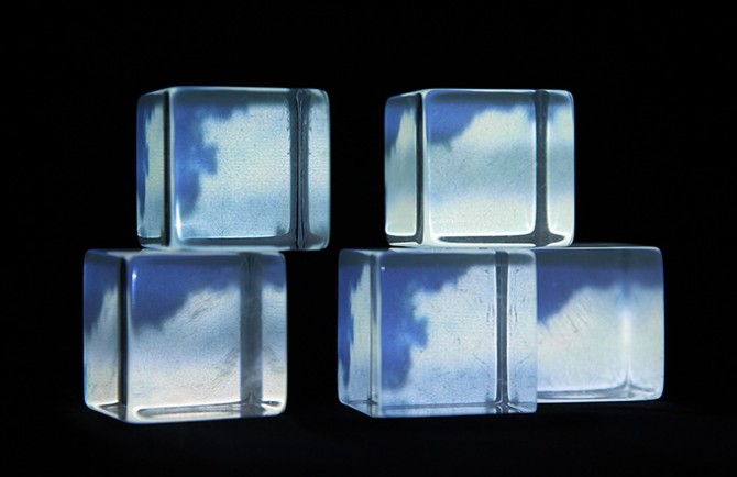 Andrea Wolf, N.3, 2014. Unsolicited Memories, Archival Exercises. Plexiglas cubes, Plexiglas base, mirror, projector, found footage. 5 x 11 x 6.25 in / 12.7 x 27.9 x 15.9 cm. Courtesy bitforms gallery, New York. Used here by kind permission. All rights reserved.