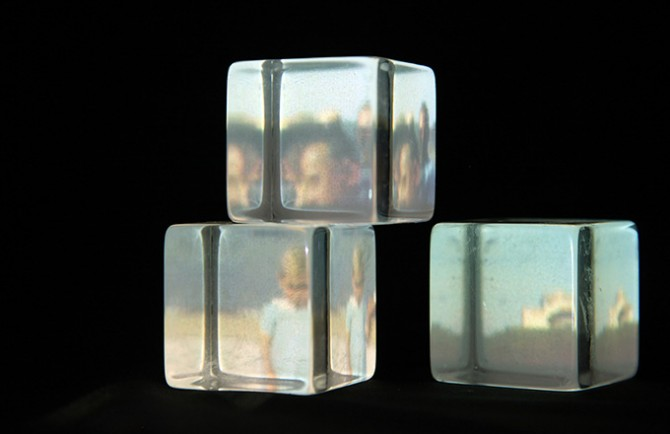 Andrea Wolf, N.4, 2015. Unsolicited Memories, Archival Exercises. Plexiglas cubes, mirror, projector, found footage. 5 x 8 x 6 in / 12.7 x 20.3 x 15.2 cm. Courtesy bitforms gallery, New York. Used here by kind permission. All rights reserved.