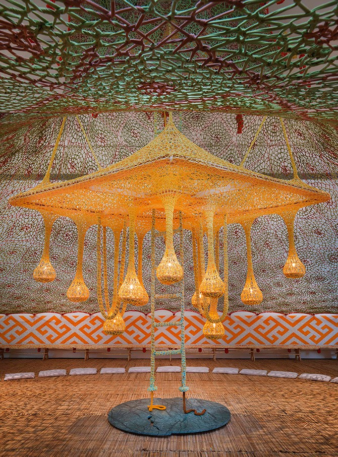 Ernesto Neto, CanoeKeneJaguarPataLampLight (CanoaKeneOnçaPawLampadaLuz), 2015. Wood, cotton, lavender, glass, crystal, and candles. 338 x 525 x 525 cm. Installation view: Ernesto Neto and the Huni Kuin: Aru Kuxpia | Sacret Secret: TBA21-Augarten. Photo: Jens Ziehe, Vienna 2015. Courtesy Ernesto Neto. Used here by kind permission. All rights reserved.