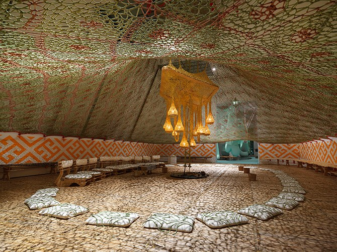 Ernesto Neto, NixiForestKupiXawa, 2015. Cotton, straw, paint, and wood. 650 x 1550 x 1010 cm. Installation view: Ernesto Neto and the Huni Kuin: Aru Kuxpia | Sacret Secret, TBA21-Augarten. Photo: Jens Ziehe, Vienna, 2015. Courtesy Ernesto Neto. Used here by kind permission. All rights reserved.