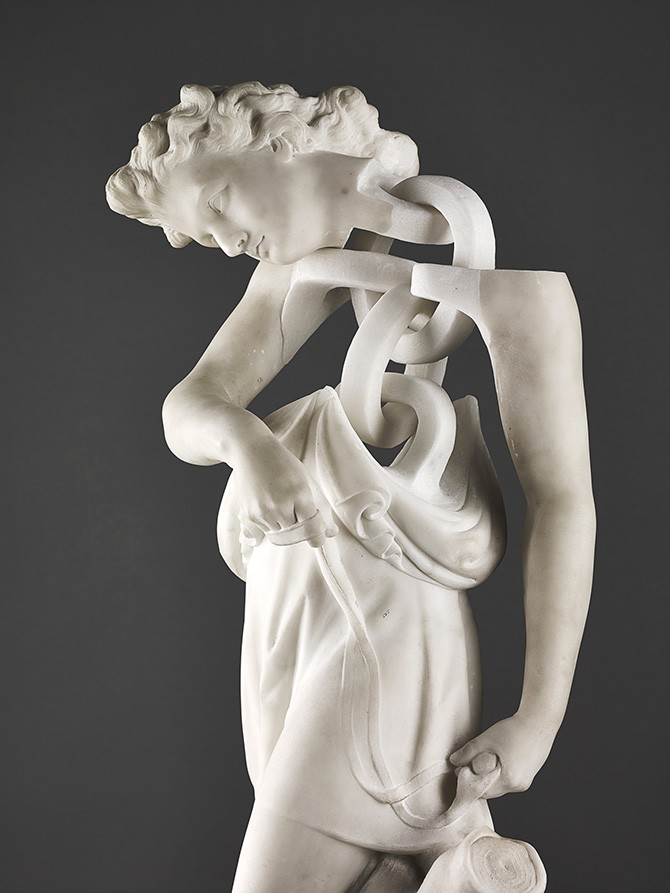 Jonathan Owen, David, 2013. 19th century marble figure with further carving, 70 x 30 x 30 cm. Courtesy the artist and Ingleby Gallery, Edinburgh. Used here by kind permission from Sydney Contemporary. All rights reserved.