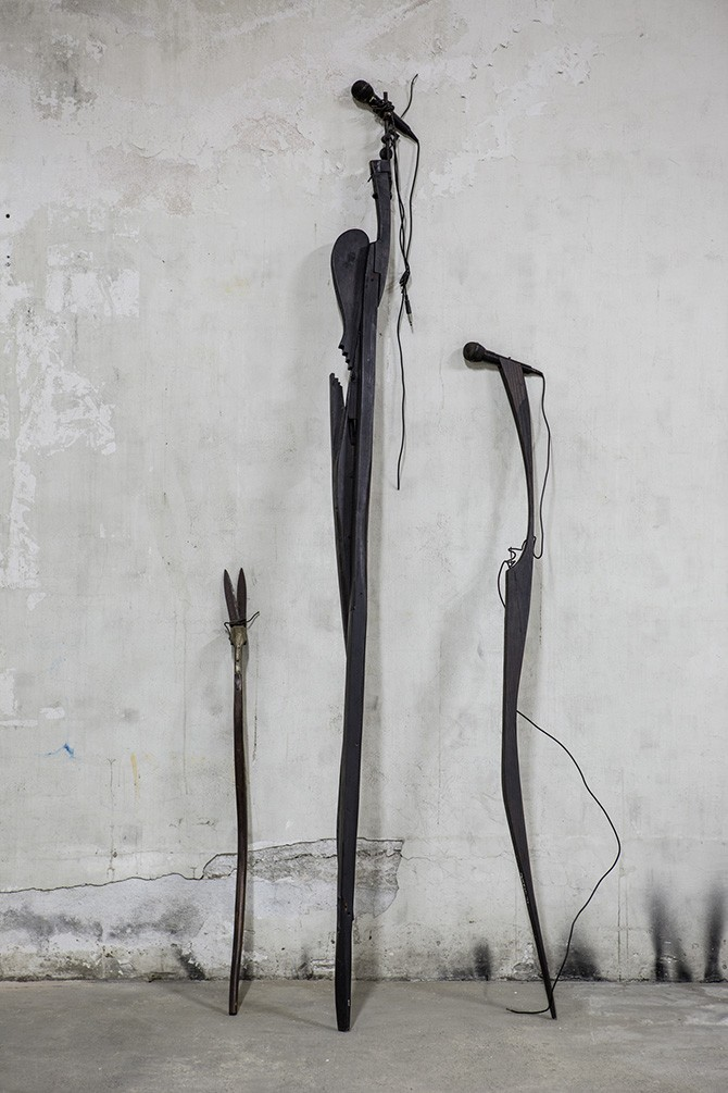 Glavkos Koumides, from the Yiotta Dasia Series, 1997. 232 x 70 x 13 cm (two pieces with microphones). Photography: Antonis Minas, Courtesy the Office gallery. All rights reserved.