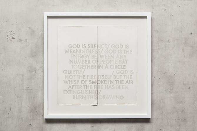 Robert Montgomery, God is Silence, 2012. Watercolor on acid free paper, 50 x 59.7 cm. Photography: Antonis Minas, Courtesy the Office gallery. All rights reserved.