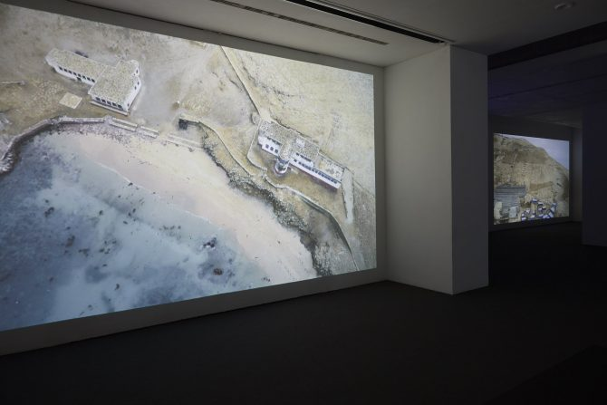 Dinh Q. Lê, The Colony, 2016 (detail). Five-channel video installation, three projections, two monitors, colour, sound. Various durations. Overall dimensions variable. Installation shot at Ikon Gallery, Birmingham, 2016. Photograph by Stuart Whipps. All rights reserved.