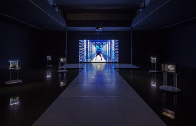 Cécile B. Evans, Installation view What the Heart Wants 2016, 9th Berlin Biennale for Contemporary Art.Courtesy Cécile B. Evans; Galerie Emanuel Layr, Vienna; Barbara Seiler, Zurich, Private Collection. Photo: TimoOhler