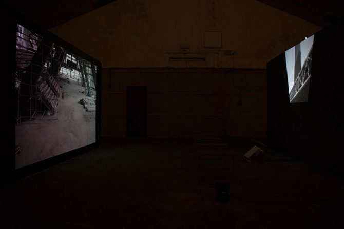 Zachary Formwalt, In Light of the Arc, 2013, installation view at EVA Biennial, Limerick, 2014. Double-channel video installation. Photo courtesy Zachary Formwalt. Used here by kind permission from the artist. All rights reserved.