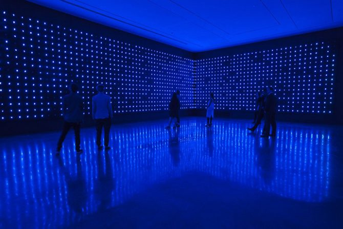 Tatsuo Miyajima, Mega Death, 1999/2016. Installation view, Tatsuo Miyajima: Connect with Everything, Museum of Contemporary Art Australia, 2016. LED, IC, electric wire, infrared sensor. Domus Collection. Image courtesy and © the artist. Photograph: Alex Davies. All rights reserved.