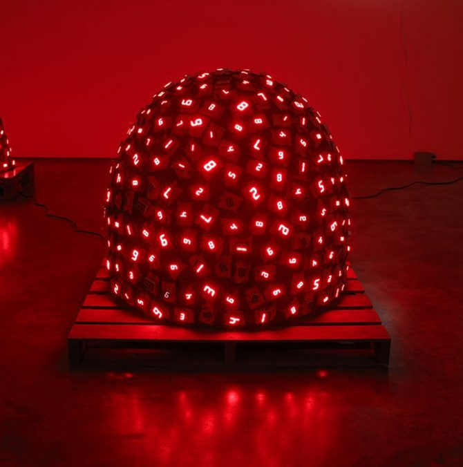 Tatsuo Miyajima, Pile Up Life No. 2, 2009. Waterproof LED, IC, fibre-reinforced plastics, electric wire, transformer. Image courtesy the artist and Lisson Gallery © the artist. Photograph: Ken Adlard. All rights reserved.