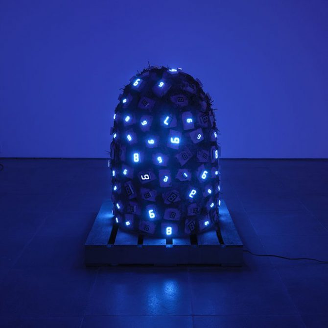 Tatsuo Miyajima, Pile Up Life No. 4, 2009. Waterproof LED, IC, fibre-reinforced plastics, electric wire, transformer. Image courtesy the artist and Lisson Gallery © the artist. Photograph: Ken Adlard. All rights reserved.