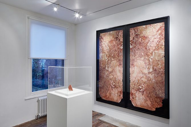 Amie Siegel, Dynasty, 2017, mixed media including marble fragment from Trump Tower, dimensions variable. Exhibition view South London Gallery, 2017. Courtesy the artist and Simon Preston Gallery, New York. Photo Andy Stagg. Used here by kind permission from South London Gallery. All rights reserved.